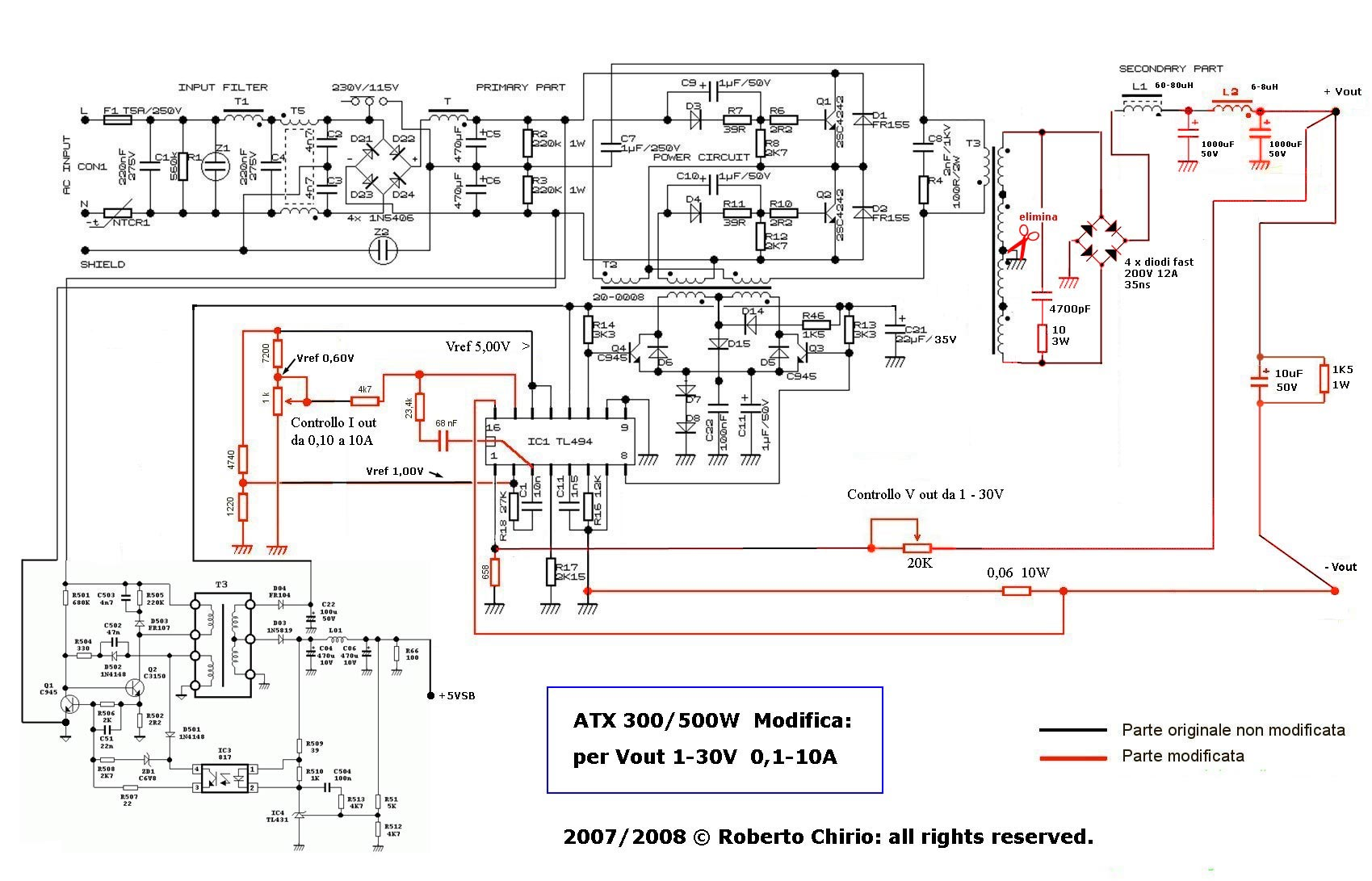 Вариант схемы по переделке компьютерного блока питания под радиолюбительские цели.