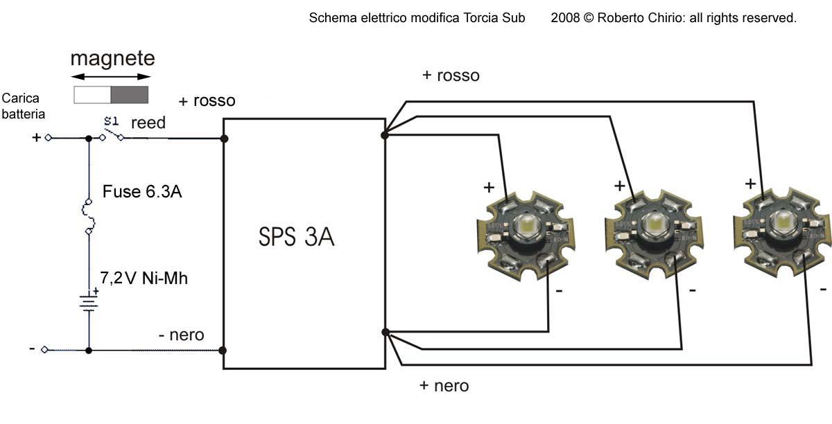 Schema Elettrico Una Lampada Tre Interruttori : Potente torcia sub da lumen con led seoul z p by