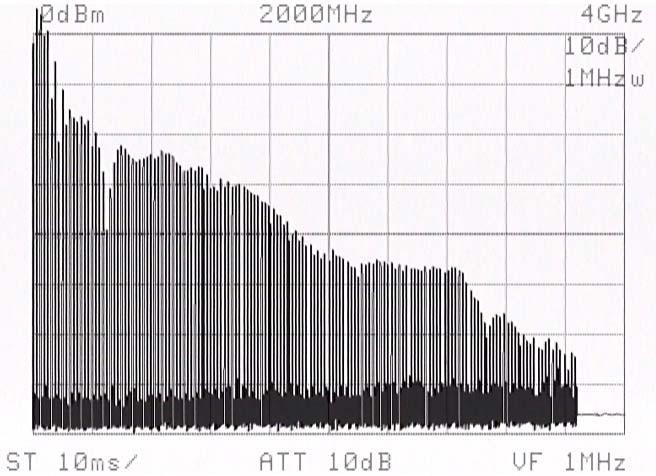 Questo è il segnale a largo spettro presente in uscita, otteniamo
