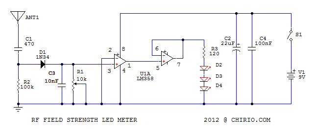 Schema Elettrico Rilevatore Di Presenza : Rilevatore di campo radiofrequenza a led by roberto chirio